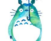 Totoro in the Rain Art Print - Studio Ghibli - My Neighbor Totoro - Gifts