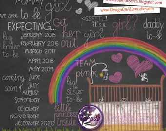 Expecting Baby Girl Chalk clipart, Pregnancy and Maternity Chalk clipart overlays, Baby Shower Clipart, baby girl clipart, pregnant clipart