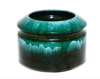 SOLD Mid Century Modern Blue Moutain Malachite Green and Aqua Ceramic Bowl