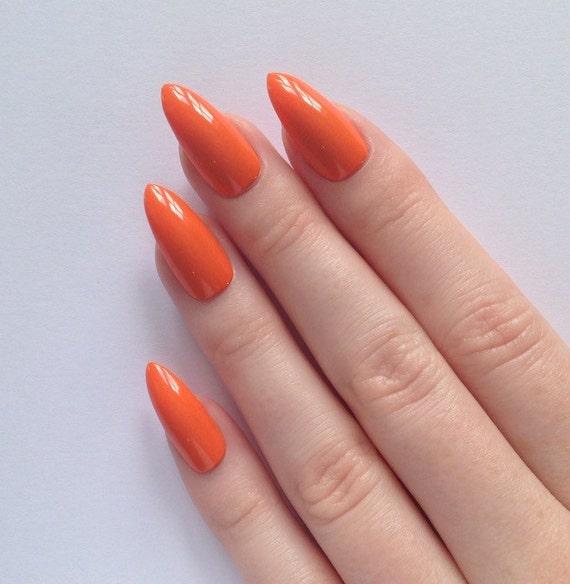 orange stiletto nails