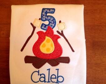 Camping Birthday Applique shirt-Birthday camper-Birthday applique shirt-boy-girl
