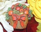 Hallmark Cards Inc Vintage signed fall fruit basket brooch pin falll Harvest fruit basket fall basket bountiful Thanksgiving FashionVintage