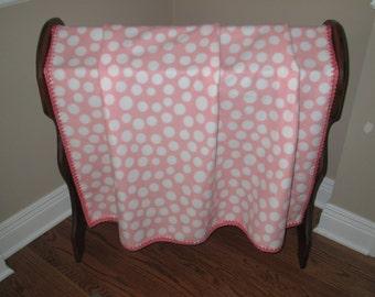 Pink and White Polka Dot Fleece Blanket with Crocheted Border