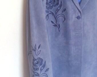 Bright Blue Woman Suede Leather Jacket Size M IT003 JCL DeAnnasAttic