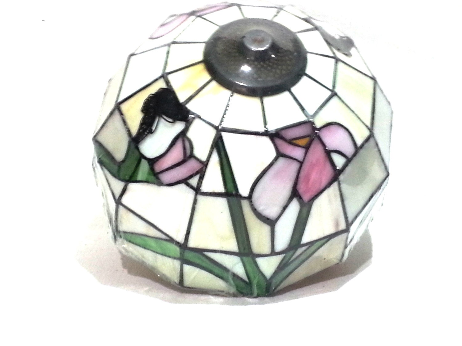 stained glass fower lamp shade it520 mrcc vintage by. Black Bedroom Furniture Sets. Home Design Ideas