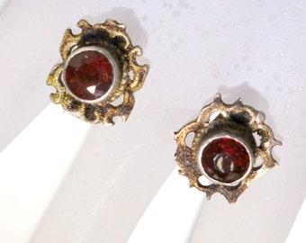 SALE Antique Bohemian Garnet Earrings, Vintage Garnet Stud Earrrings NOW 85.00 WAS 95.00