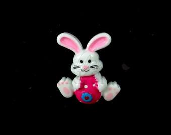 "Hot Pink Easter Bunny - Set of 5 Resin Appliques - 1"" Easter Flatback Resins - RES-021"