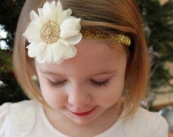 Ivory and Gold Headband, Baby Girl Headband, Gold Sparkle Christmas Headband, Infant Headband, Toddler Headband
