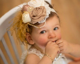 Vintage Flair Ivory and Champagne Satin Flower Headband, Infant Headband, Girls Headband, Toddler Headband, Photo Prop