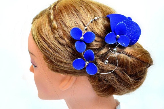 Royal blue elegant and simple fascinator Royal blue hair piece Bridesmaids hair  Bridal headpiece Wedding hair accessories Hair flower