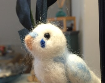 "Parakeet ""Blu"" - Adorable needle felted blue parakeet"