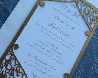 Laser Cut Wedding Invitation Pocket, Elegant Swirl Frame, Custom Personalized. Die Cut Pattern
