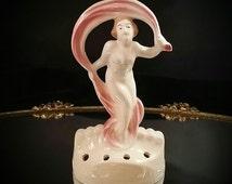 German Flower Frog Art Deco Nude Figurine Statue German Codoney Pottery