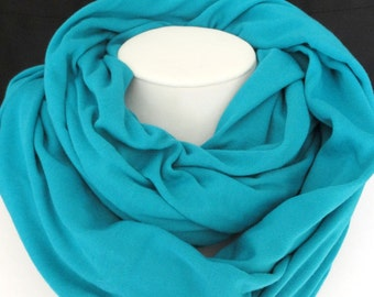 Turquoise Jersey Knit Infinity Scarf