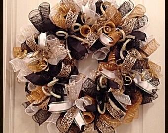 Elegant Black, Gold and White Deco Mesh Wreath/Black, Gold and White Wreath/Black and Gold Wreath