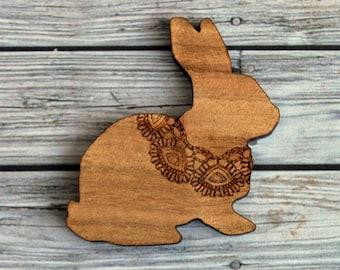 Laser cut wood brooch. QLD Walnut Lace etched bunny.