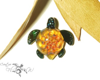 Glass Turtle - Tropical Honeycomb Turtle Pendant - Glass Art Pendant - Blown Glass Jewelry - Boro Pendant - Handmade Artist Signed
