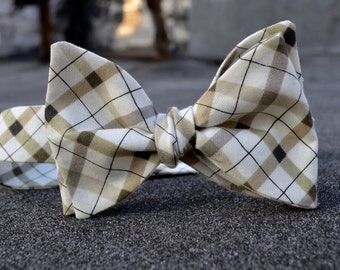freestyle bow tie - brown plaid cotton