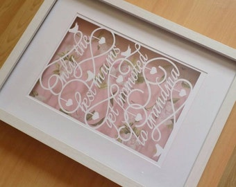 Only the best mums get promoted to grandma papercut in a shadow box frame