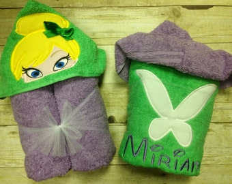 Personalized Tinkerbell Inspired Hooded Towel/ Tinkerbell Towel/ Disney Towel/ Tink Towel/ Fairy Towel/ Princess Towel