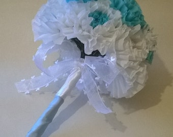 White and blue bridal bouquet, Paper flower, Wedding bouquet, Crepe paper flower, Crepe bouquet, Baby Shower