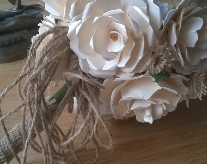Ivory Bridal Bouquet with Rustic Accent, Paper Wedding Bouquet, Wedding Bouquet, Paper Roses, Wedding Flowers