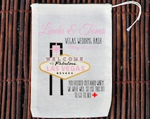 Vegas Wedding Gift Bag Ideas : Vegas Wedding Hangover Kit Welc ome Bag- Muslin Cotton Mini Favor Bags ...