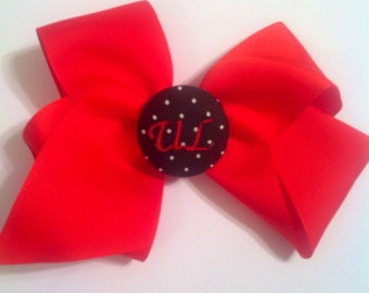 Monogram button bow Cajuns