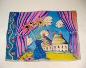 Vintage 1960's Hand Dye Painted Window Sill Scene Silk Scarf