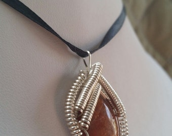Sunstone wire wrapped pendant