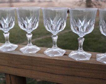 6 vintage french lead crystal water goblets in chaumont pattern by Cristal D 'Arques Durand, wedding toasting, vintage crystal wine glasses