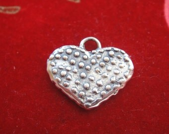 925 sterling silver oxidized heart, silver heart, heart, heart charm  or pendant