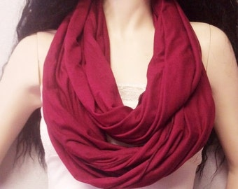 Maroon Wine Infinity Scarf SUPER Soft Jersey Knit