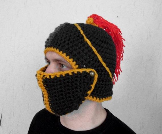 Crochet Knight Helmet : boyfriend gift Mens Knight Helmet Hat Crochet Slouch Mens Convertible ...