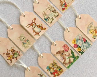 Easter Bunny Rabbit gift tags - vintage retro bunnies - set of 10