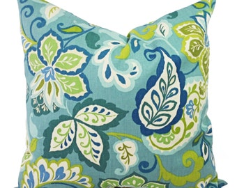 Two Floral Pillow Covers - Blue Pillow Covers - Blue Green Floral Pillow - Blue Pillow Cover - Decorative Pillow Cover - Pillow Case
