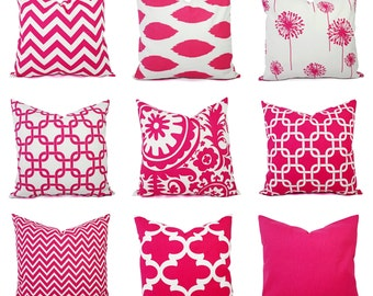 Hot Pink Pillow Cover - Pink Decorative Throw Pillow Cover - Hot Pink and White Pillows - Dorm Decor - Girls Room Decor - Hot Pink Decor