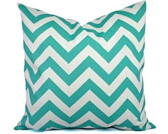 Two Indoor Outdoor Pillow Covers - Aqua Pillow - Teal Pillow Covers - Patio Pillow - Couch Pillow - Two 12 x 18 inch Pillows