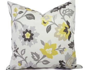 Two Decorative Pillows - Yellow and Grey Pillow Covers -  Yellow Grey and Cream Floral Pillow Covers - Grey Pillows - Yellow Pillows