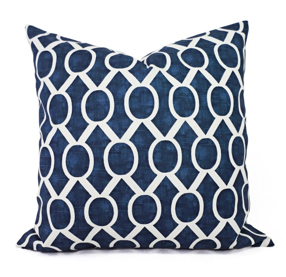Two Navy Blue Decorative Pillows Two Navy Throw Pillow