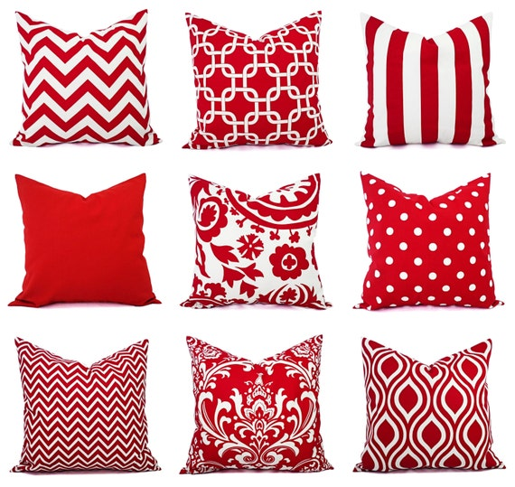 One Red Throw Pillow Cover Red and White by CastawayCoveDecor