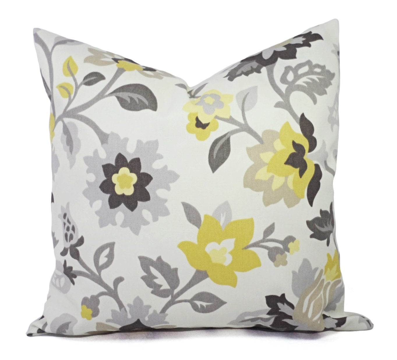 Two Decorative Pillows Yellow and Grey Pillow Covers