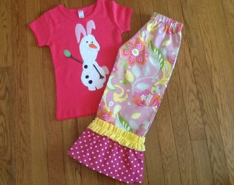 Easter Olaf double ruffle pants and top 12 18 2 3 4 5 6 7