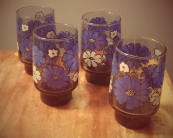 1970s Libbey Glassware Blue and White Camellia Flower Pattern Set of 4 Drinking Glasses