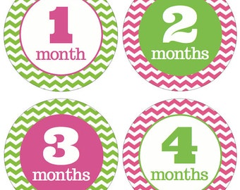 Monthly Onesie Stickers, Baby Shower or Baby Gift, BABY GIRL,  12 months, Chevron