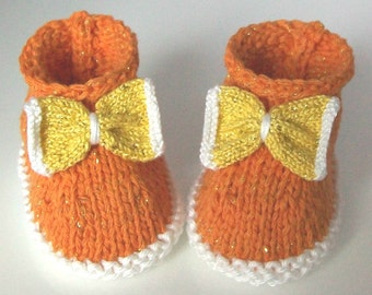 Candy Corn Baby Booties - Halloween Sparkle Booties - Newborn Baby Girl Shoes - Orange Yellow and White Premium Pima & Egyptian Giza Cotton