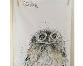 Owl's Head Tea Towel - Cotton, Country Kitchen Gift, Woodland Theme