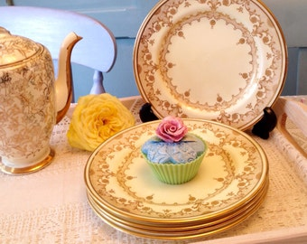 Crown Staffordshire Tea Plate with gold pattern, five available.