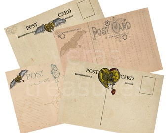 Steampunk Heart Blank Postcards Digital Images for card making or Crafts