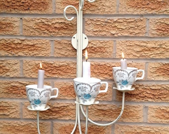 Wall sconce tea cup candle holder, candelabra made with vintage tea cups by midwinter with blue roses